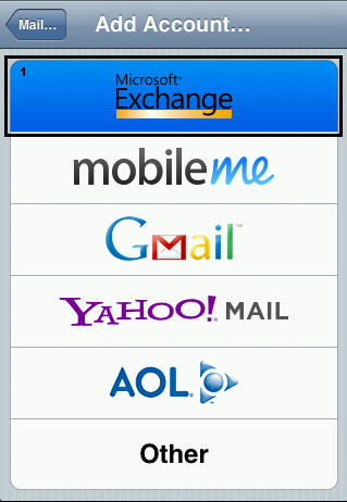 Install Apple IPhone hosted Exchange acount