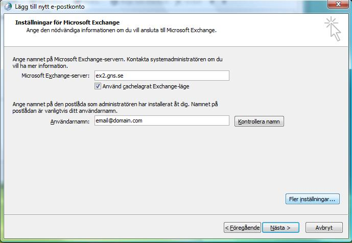 Exchange server adress