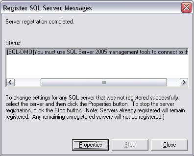 SQL-DMO You must use SQL 2005 management tools to connect to this server