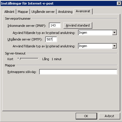 POP/IMAP settings hosted exchange