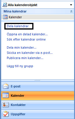 Dela ut min kalender hosted exchange